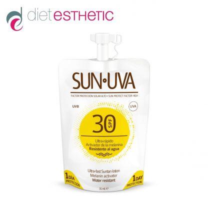 SUN UVA SPF-30 - слънцезащитен мини-лосион за тяло, меланин-активатор, с висок защитен фактор, 35 ml