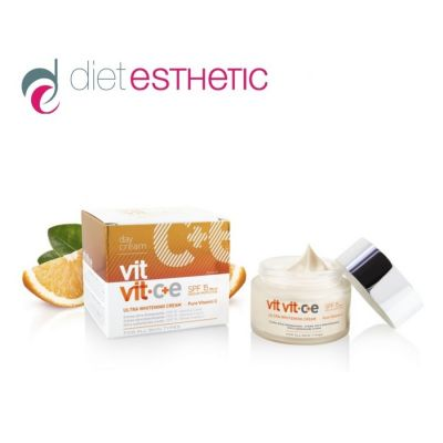 Крем за лице Diet Esthetic VIT VIT C+E, 50 ml - с чист вит. С, ултра-избелващ, дневен, SPF 15