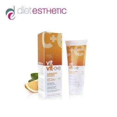Крем за ръце Diet Esthetic VIT VIT C+E, 100 ml - с чист вит. С, ултра-избелващ, SPF 15