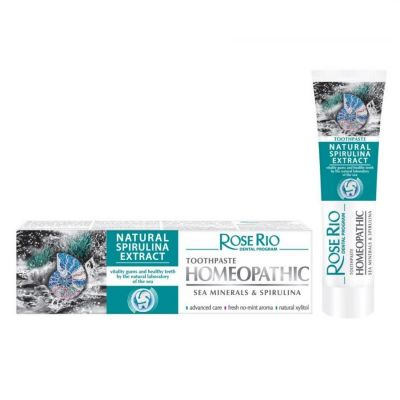 Хомеопатична паста за зъби Rose Rio Natural, 65 ml - с Морски минерали и Спирулина